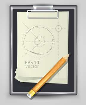 Vector illustration of notepad with pencil and engineering drawing - Free vector #128921