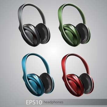 Vector illustration of headphones icon set on grey background - Free vector #128951