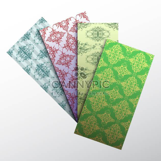 set of colorful damask business cards - Free vector #129041