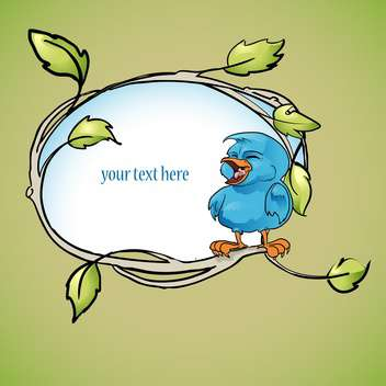 vector floral frame with blue bird - vector gratuit #129081