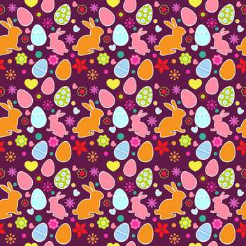 easter holiday eggs, flowers and bunnies pattern - Free vector #129091