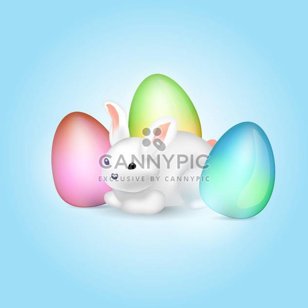 easter bunny with colorful eggs - Free vector #129121