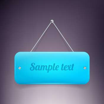 glossy blue banner on wall - vector gratuit #129131