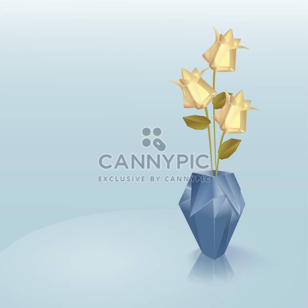 Origami vase with yellow roses on blue background - Free vector #129201