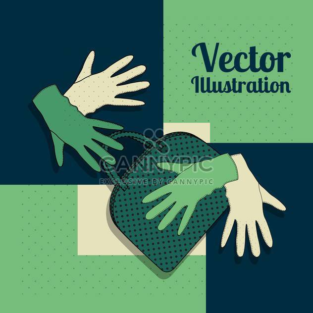 Vector green background with gloves and handbag - Free vector #129281