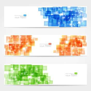 Abstract vector white cards with colorful squares - Free vector #129291