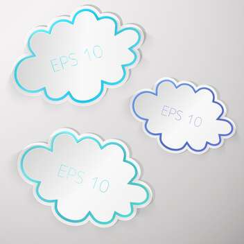 Vector set of clouds on gray background - vector gratuit #129381