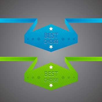 Vector blue and green best choice labels on gray background - vector gratuit #129401