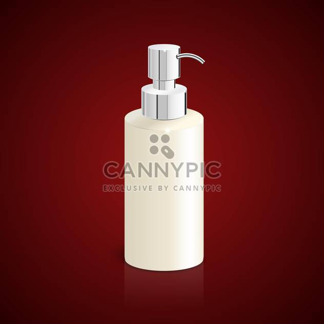 Vector illustration of white bottle of liquid soap on red background - Free vector #129431