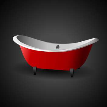 Vector illustration of red cartoon bath on black background - vector gratuit #129501