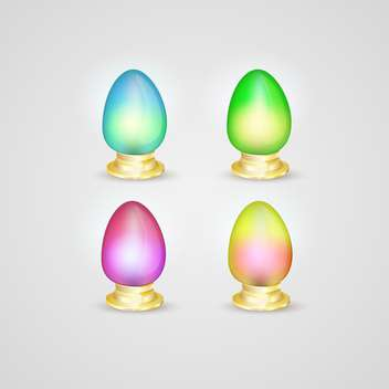 Set of vector colorful Easter eggs on gray background - бесплатный vector #129521