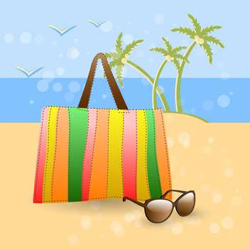 Vector illustration of handbag and sunglasses on summer beach - Free vector #129541