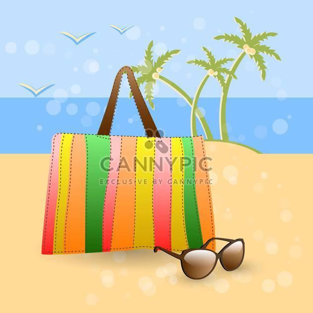 Vektor-Illustration von Handtasche und Sonnenbrille auf Sommer Strand - Free vector #129541
