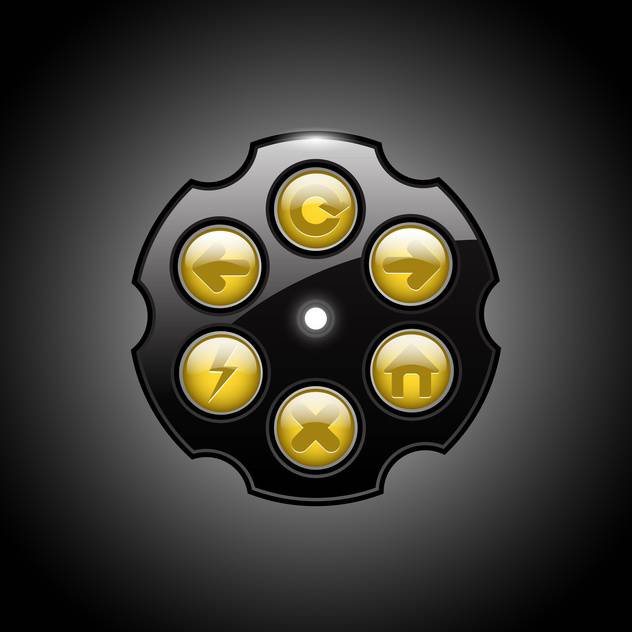 Vector illustration of revolver browser buttons on black background - vector #129561 gratis