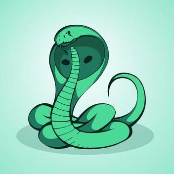 Vector illustration of green cobra on green background - Free vector #129571