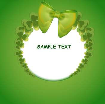 Vector green St Patricks day greeting card with clover leaves frame - vector gratuit #129581