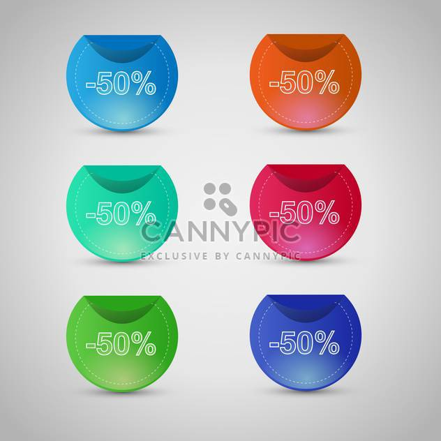vector set of colorful sale stickers and labels on gray background - Free vector #129611
