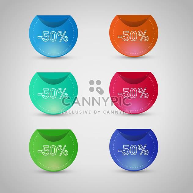Vektor-Reihe von bunten Verkauf Aufkleber und Etiketten auf grauem Hintergrund - Kostenloses vector #129611