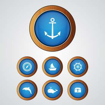 Vector set of blue sea icons on gray background - vector gratuit #129631