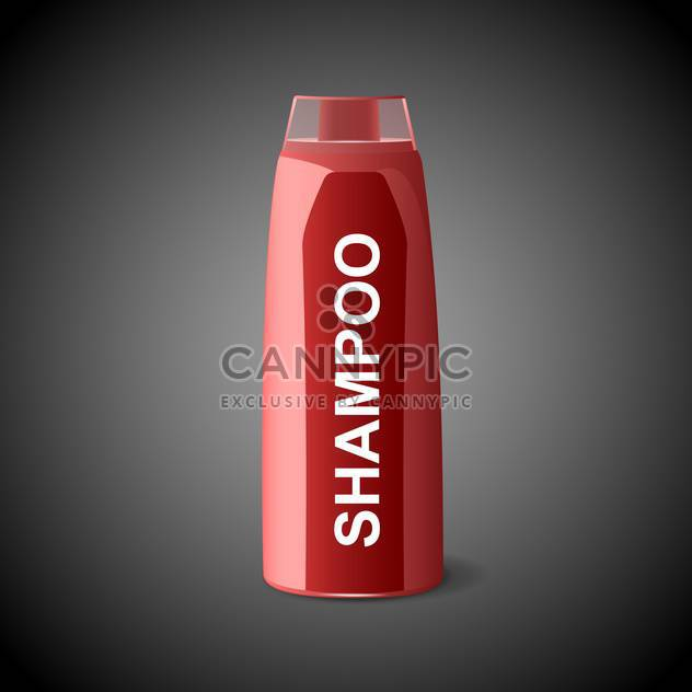 Vector illustration of red shampoo bottle on black background - Free vector #129661