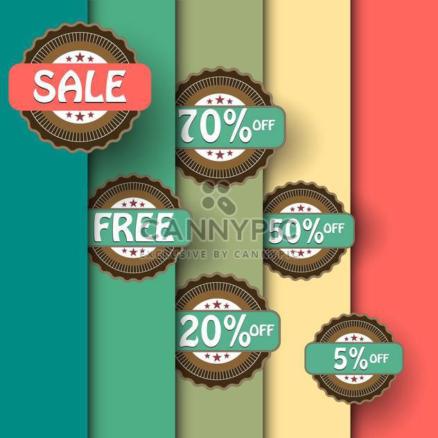 Vector set of vintage shopping sale labels on background with colorful stripes - Free vector #129701