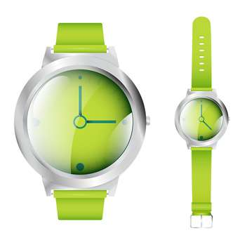 Vector illustration of green wrist watches isolated on white background - Kostenloses vector #129811