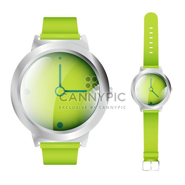 Vector illustration of green wrist watches isolated on white background - Free vector #129811