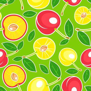 Vector green seamless background with red and yellow cherries and leaves pattern - Free vector #129911