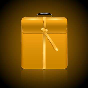 Vector illustration of yellow business briefcase on brown background - vector #129951 gratis