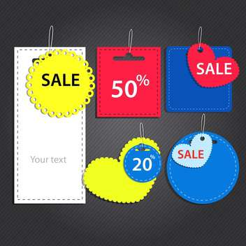 Vector set of labels for sale on dark background - vector gratuit #129961