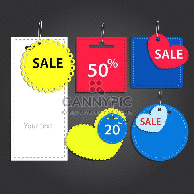 Vector set of labels for sale on dark background - Free vector #129961