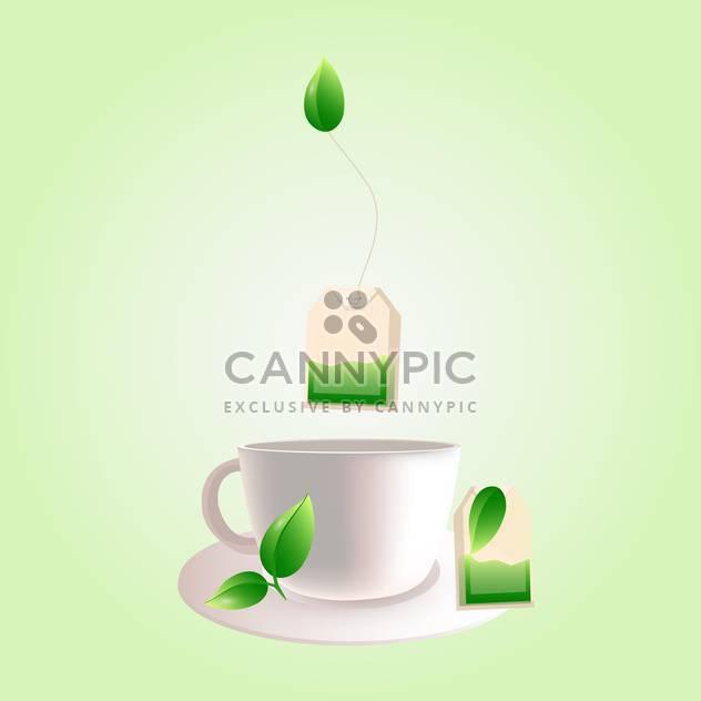 Vektor Tasse grüner Tee auf hellgrünem Hintergrund - Free vector #130011
