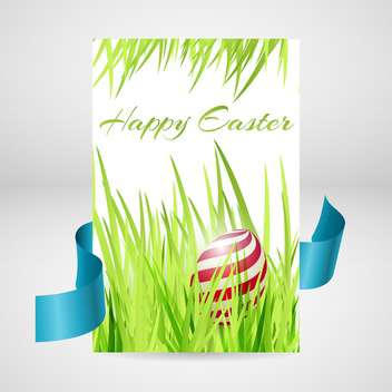 Greeting card for happy Easter with egg in grass and blue ribbon - vector #130081 gratis