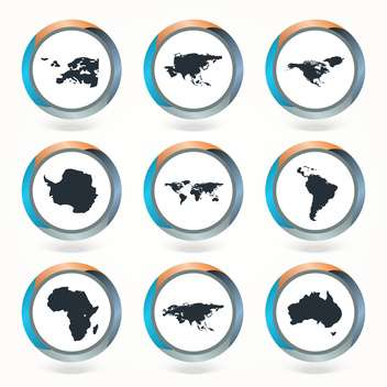 Set of vector globe icons showing earth with all continents - vector #130121 gratis