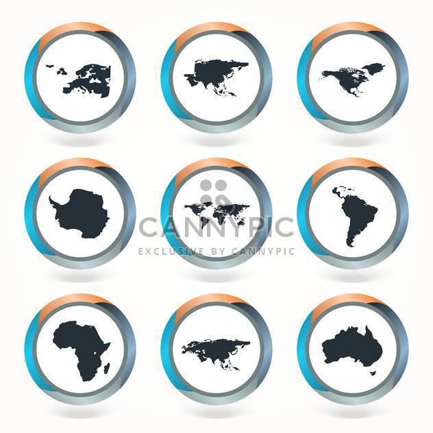 Set of vector globe icons showing earth with all continents - Free vector #130121