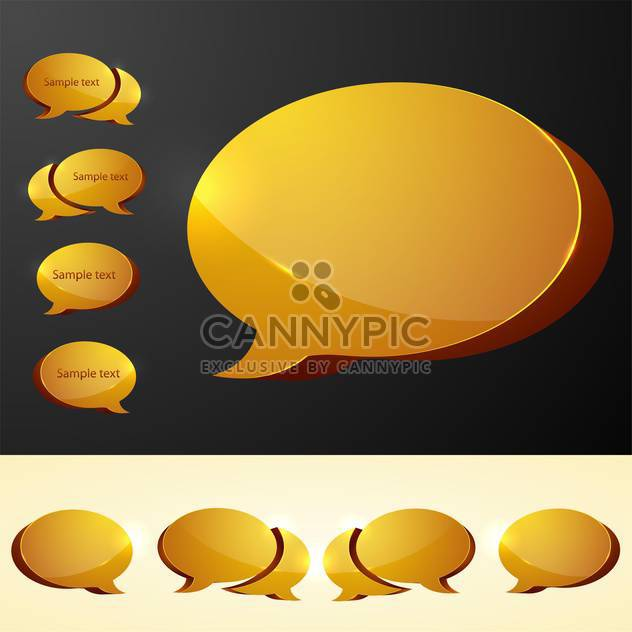 Vector set of yellow speech bubbles - Free vector #130131