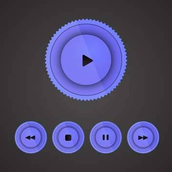 Vector set of purple player buttons on dark background - Free vector #130141