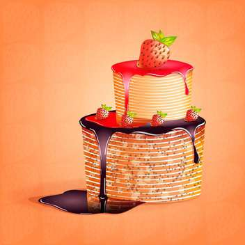 strawberry cake vector illustration - Free vector #130301