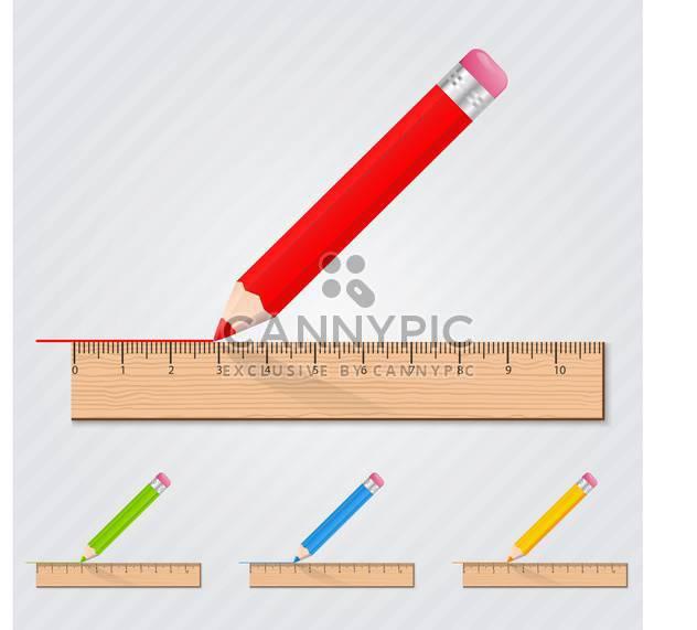 Farbige Set mit Stifte mit Linealen - Kostenloses vector #130381