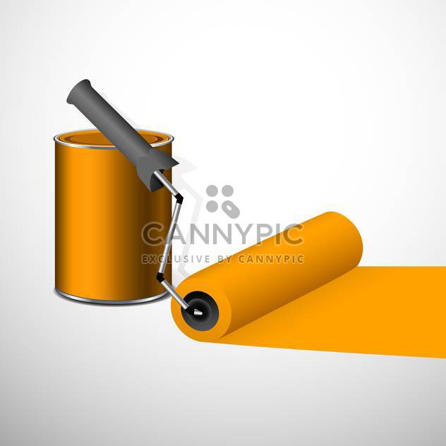 Paint can with a roller, isolated on white background - Free vector #130411