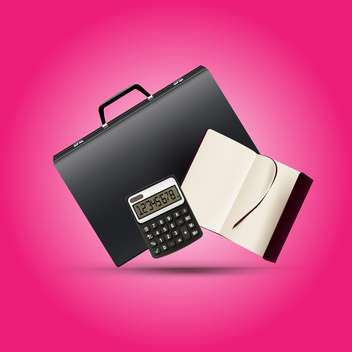 A briefcase, notebook and calculator vector illiustration - Free vector #130441