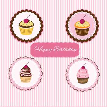 Vector Happy Birthday pink card with cupcakes - Free vector #130551