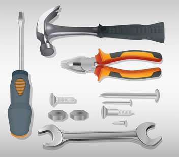 vector illustration of Tools on grey background - vector #130591 gratis