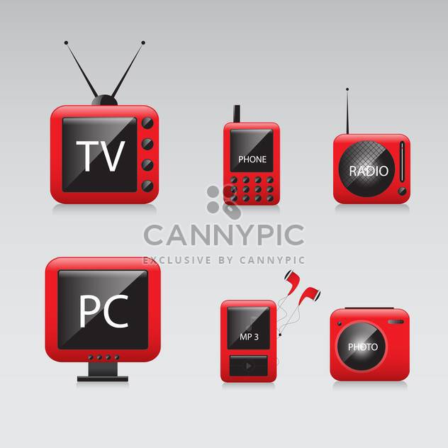 vector illustration of electronic devices icons on grey background - Free vector #130601
