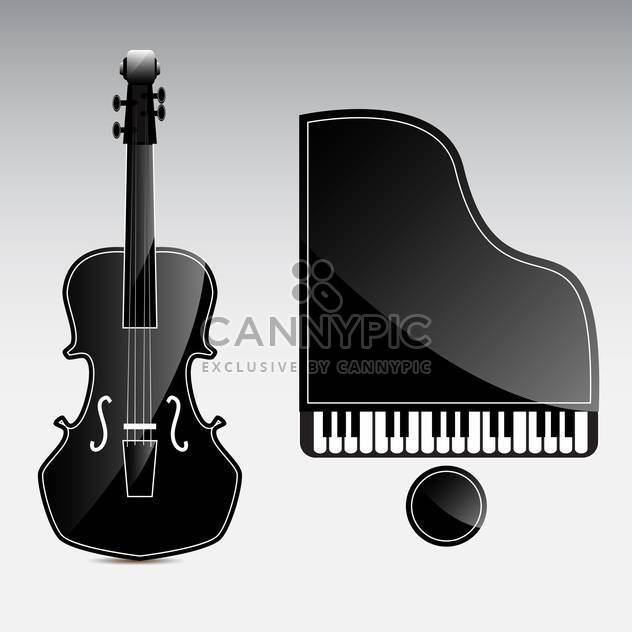Vector musical instruments on grey background - Free vector #130611