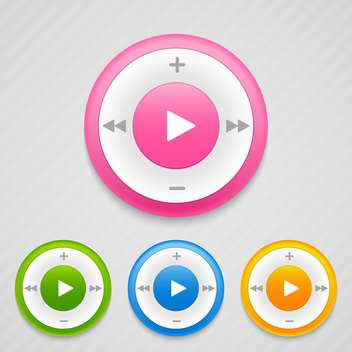 Vector round shaped music icons on grey background - Free vector #130681