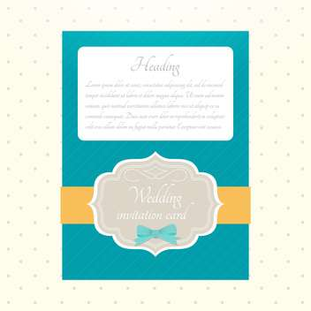 Vector wedding blue color invitation with text place - vector gratuit #130691