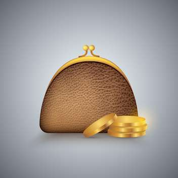 vector illustration of brown purse and golden coins - vector gratuit #130701