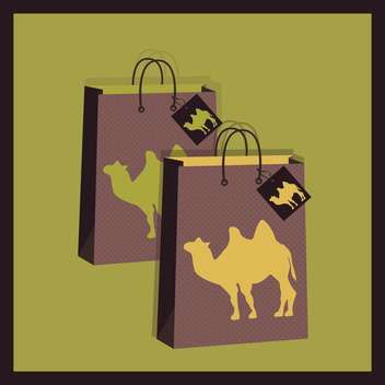 shopping bags with camel illustration - vector gratuit #130721