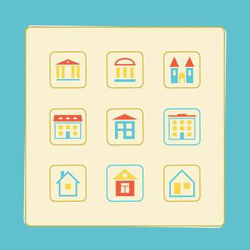 vector illustration of icons set of houses - бесплатный vector #130741